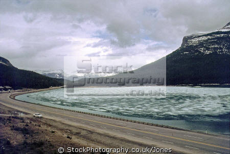 frozen wapta lake near louise bc travel trans-canada trans canada transcanada highway hwy icey shushwap british columbia canada canadian