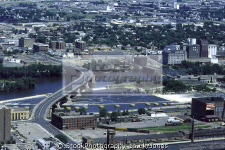 minneapolis mississippi river looking east st paul. taken ids tower. american yankee travel bridge weir highway 65 central avenue minnesota usa united states america