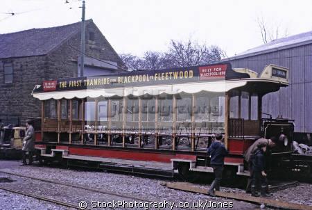 old blackpool tram crich tramway museum derbyshire trams streetcar travel public transport tramlines england english great britain united kingdom british