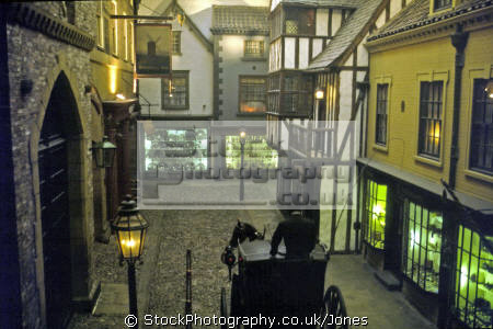 street scene castle museum york. uk museums british architecture architectural buildings gaslight regency victorian cobbles hackney carriage horse york yorkshire england english great britain united kingdom