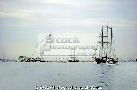 sailing ship sir winston churchill huge flotilla boats hoping witness recovery mary rose september 1982. underwater marine diving tall ships henry eighth viii isle wight portsmouth harbour solent tog mor pompey hampshire hamps england english great britain united kingdom british