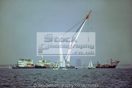 giant lifting crane tog mor solent just prior recovery mary rose september 1982 underwater marine diving henry eighth viii isle wight portsmouth harbour pompey hampshire hamps england english great britain united kingdom british