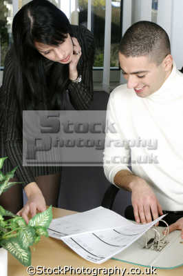 secretary young male boss work office business