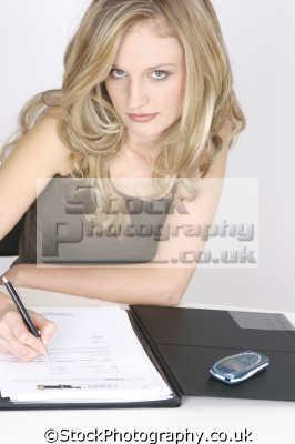 businesswoman writing memo women woman female females feminine womanlike womanly womanish effeminate ladylike people persons