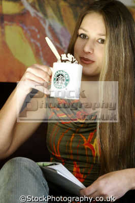 young woman starbucks people drinking eating nutrition human activities persons