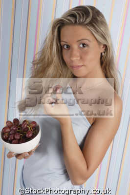 eating bowl grapes healthy nutrition balanced diet human activities people persons