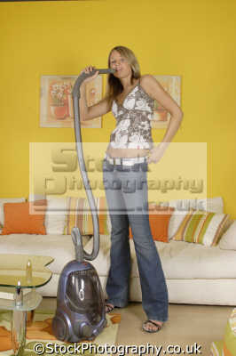 singing vacuum cleaner housework domestic chores working people persons hoovering cleaning