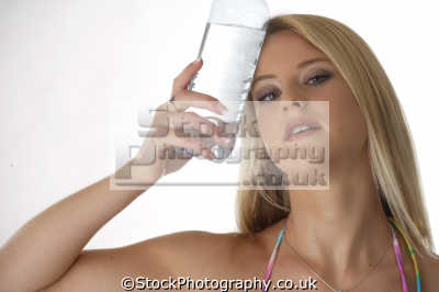 cold bottled water forehead people drinking eating nutrition human activities persons