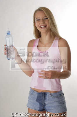 happy girl bottled water people drinking eating nutrition human activities persons