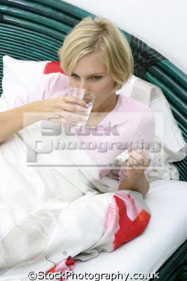 sick bed pills illness sickness health fitness people persons flu colds