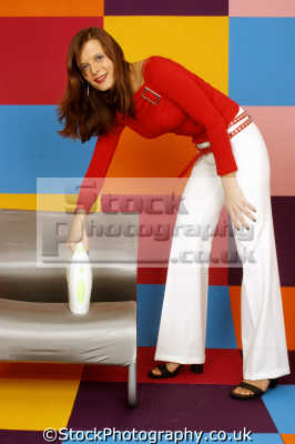 woman red tank white slacks fashion haute couture chic designer people persons