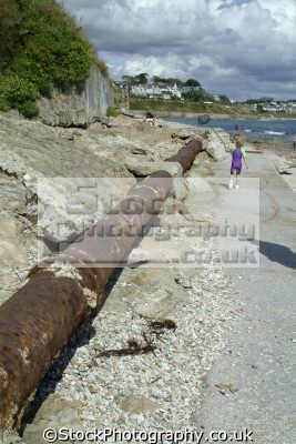sewage pipline falmouth beach environmental pollution uk cornwall cornish england english great britain united kingdom british