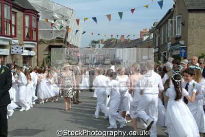 flora day helston. teenagers parade leisure uk helston cornwall cornish england english great britain united kingdom british