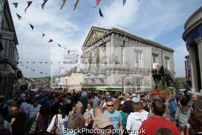 flora day helston. crowds town hall leisure uk helston cornwall cornish england english great britain united kingdom british