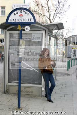 waiting autobus women woman female females feminine womanlike womanly womanish effeminate ladylike people persons