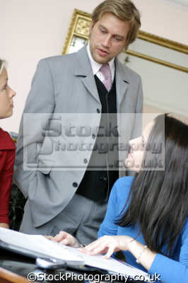 male executive female secretaries business