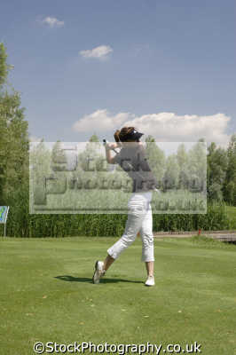 lady golfer swing golf golfing sports sporting uk