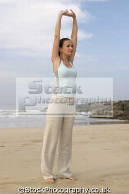 beach workout stretching physical health fitness people persons