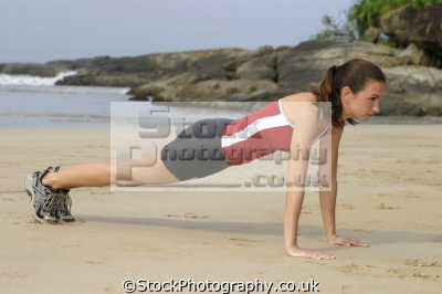 beach workout press-ups press ups pressups physical health fitness people persons