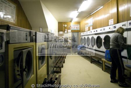 launderette nightime matlock derbyshire. peak district uk towns environmental washing evening night derbyshire england english great britain united kingdom british