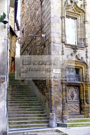 public stairway tulle france french buildings european travel correze limousin steps mediaeval medieval passageway la francia frankreich europe