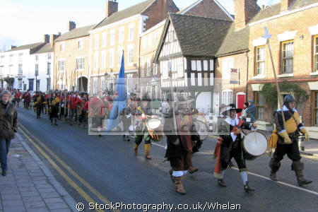 year sealed knot stage parade town nantwich cheshire staging re-run re run rerun civil war battle 1644. historical britain history science misc. england english great united kingdom british