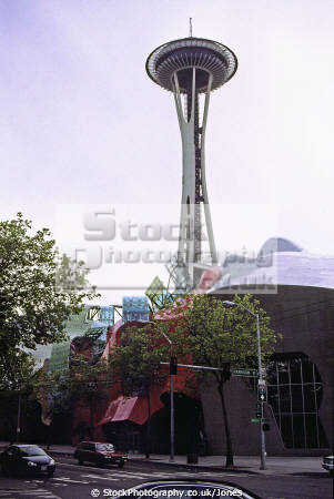 seattle music experience project space needle. american yankee travel washington state downtown jimi hendrix rock grunge tower iconic landmark usa united states america