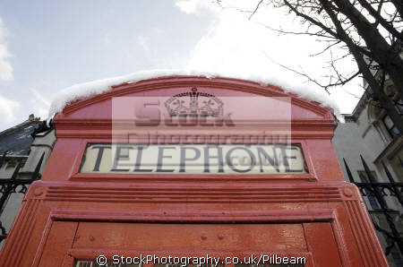 red telephone box snow roof famous sights london capital england english uk phone city cockney great britain united kingdom british