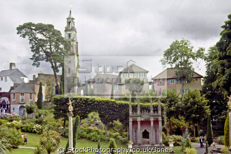 campanile gardens village portmeirion wales portmerion british architecture architectural buildings uk italianate clough williams-ellis williams ellis williamsellis ornamental prisoner number gwynedd welsh país gales great britain united kingdom
