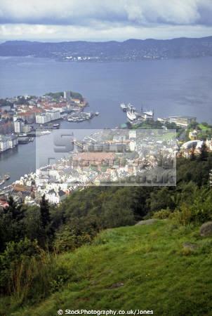 view bergen norway mount fløyen. european travel fløibanen funicular norge harbour port norwegian kongeriket europe norwegan