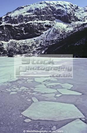 re-frozen re frozen refrozen plates ice austrumdalsvatnet fjord norway wilderness natural history nature misc. valley lake norwegian winter refrozen norge snow mountains kongeriket europe european norwegan