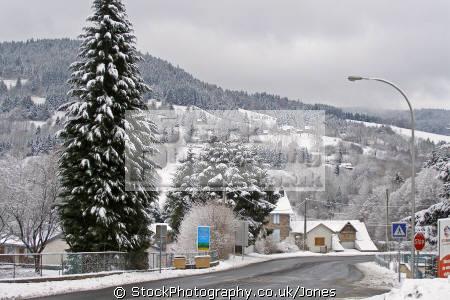town la bourboule recent snow french landscapes european travel volcans auvergne parc regional naturel monts-dore monts dore montsdore winter massif central france francia frankreich europe