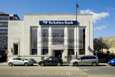 yorkshire bank building cars parked uk banks commercial buildings retailers british architecture architectural banking town centre street yorks halifax england english great britain united kingdom states american