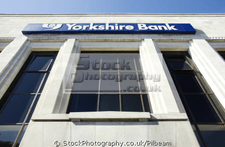 yorkshire bank sign looking uk banks commercial buildings retailers british architecture architectural banking building town centre street yorks halifax england english great britain united kingdom