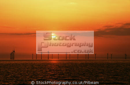 windfarm sunset liverpool coastline irish sea uk coastal environmental wind power energy green farm electricity lancashire lancs england english great britain united kingdom british