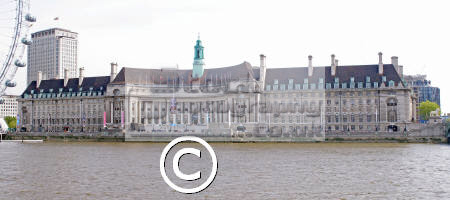 panoramic shot london old county hall river thames town halls local government buildings architecture capital england english uk glc british movieum aquarium exhibition cockney great britain united kingdom