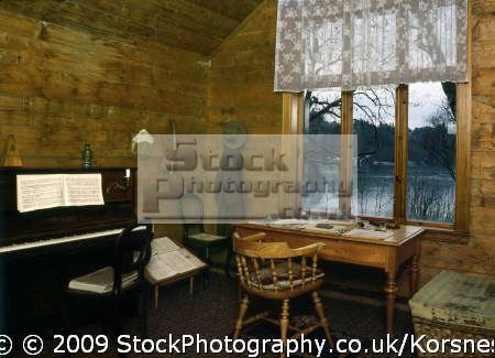 edvard grieg´s composer hut troldhaugen bergen norway. grieg edward musicians celebrities celebrity fame famous star people persons fjord norway kongeriket norge europe european norwegan