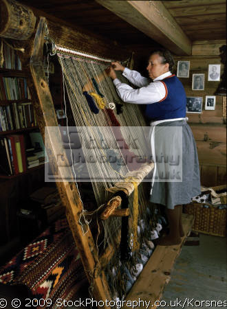 weaving warp-weighted warp weighted warpweighted loom. norwegian artist berta liarbø fitjar. technique known 5500 bc. antiques old household home abstracts misc. fjord norway kongeriket norge europe european norwegan