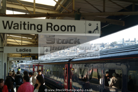 plymouth railway station platform uk stations railways railroads transport transportation waiting room sign devon devonian england english great britain united kingdom british