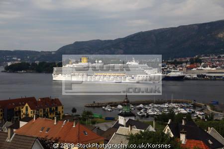 cruise liner costa luminosa visiting bergen norway travel fjord kongeriket norge europe european norwegan