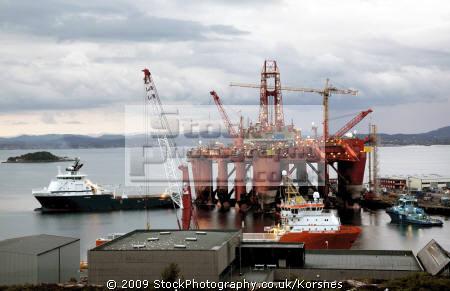 oil rig supply ships bergen norway industry industrial uk business commerce fjord kongeriket norge europe european norwegan