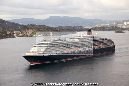 cruise liner queen victoria leaving bergen norway. travel fjord norway kongeriket norge europe european norwegan