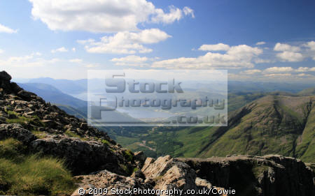 overlooking glencoe village loch leven stob coire nan lochan. mountains countryside rural environmental uk argyll bute argyllshire scotland scottish scotch scots escocia schottland great britain united kingdom british