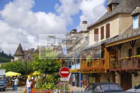 bars restaurants quai lestourgie pleasant market town argentat southern limousin. french buildings european travel correze dordogne bridge promenade quay quais limousin france la francia frankreich europe