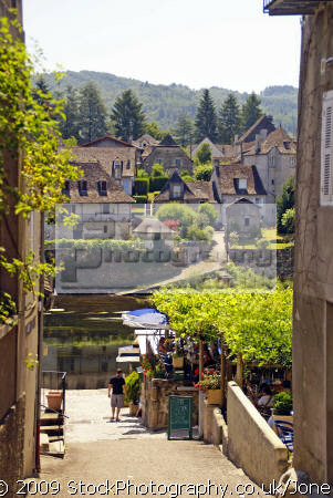 pleasant market town argentat southern limousin. looking steps quai lestourgie dordogne river. french buildings european travel correze promenade quay quais bridge limousin france la francia frankreich europe
