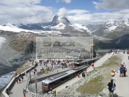 gornergat railway station highest open air europe matterhorn backgound. swiss suisse european travel alps switzerland schweiz