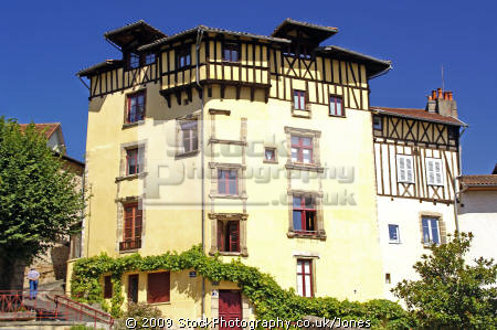 traditional old buildings town tulle southern limousin french european travel correze river valley medieval mediaeval half-timbered half timbered halftimbered france la francia frankreich europe united kingdom british