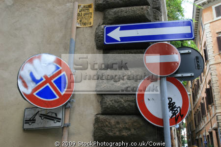 italian street signs rome lazio european travel road roma roman italy italien italia italie europe united kingdom british