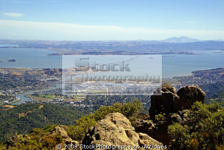 view mt tamalpais near san francisco looking east north bay richmond bridge california american yankee travel marin peninsula county headlands californian usa united states america