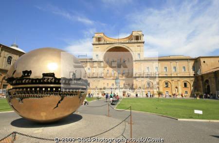 sphere sculpture pine garden vatican city rome lazio italian european travel art roma roman italy italien italia italie europe united kingdom british
